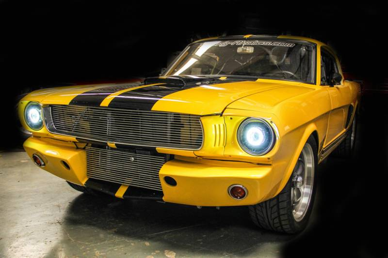 Classic Mustang 7 Inch Round Black Projector Headlight