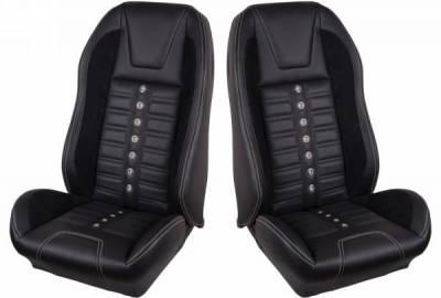 TMI Products - 69 - 70 Mustang TMI Sport XR Full Seat Upholstery-Black/Black/Black/Steel