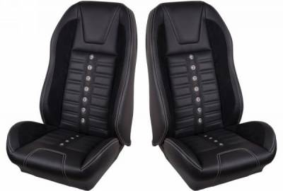 TMI Products - 69 - 70 Mustang TMI Sport XR Full Seat Upholstery-Black/Black/Red/Black
