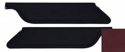TMI Products - 67 - 68 Mustang Red UniSuede Sun Visors, Pair, Coupe/Fstbk