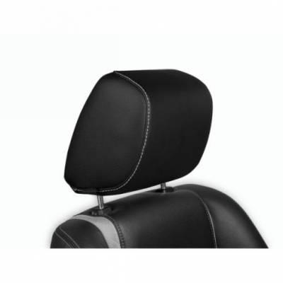 TMI Products - 10 - 12 Mustang Premier Int Tilting Headrest Kit, Black Vinyl/White Stitch