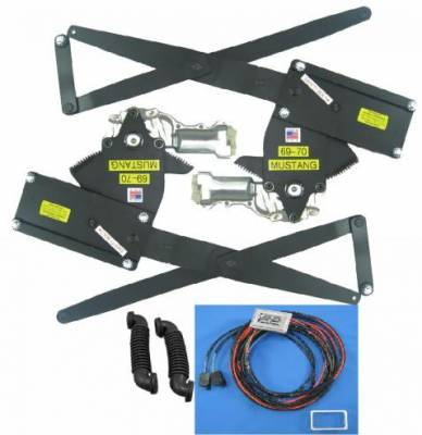 Nu Relics Power Windows - 69 - 70 Mustang Power Window Kit- Chrome Switch, Console Mount