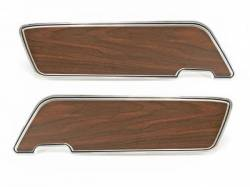 Door Panels & Related - Deluxe Panels - Scott Drake - 1969 - 1970 Mustang  Deluxe Door Panels (with Walnut Inserts, Pair)