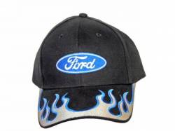 Accessories - Apparel - Scott Drake - Ford Ball Cap (Silver Blue Flames)