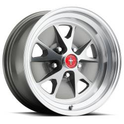 Wheels - 15 Inch - Scott Drake - 65 - 67 Mustang 15 x 7 Styled Alloy Wheel, 5 on 4.5 BP, 4.25 BS, Charcoal / Machined