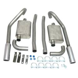JBA Headers - 67-70 Mustang JBA Exhaust Kit W/ Chrome Tips SS 2.5in V8 Staggered Rear Shocks