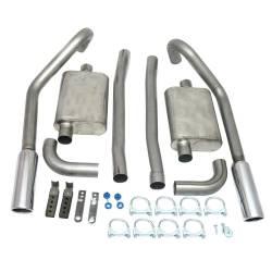 Kits - Dual - JBA Headers - 67-70 Mustang JBA Exhaust Kit W/ Chrome Tips SS 2.5in V8 Staggered Rear Shocks