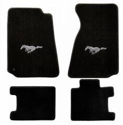 Carpet & Related - Floor Mat Sets - Lloyd Mats - 79 - 93 Mustang BLACK Floor Mats, Silver Pony Emblem