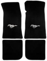 Carpet & Related - Floor Mat Sets - Lloyd Mats - 65 - 73 Mustang Black Floor Mats With Running Pony, Coupe/Fstbk