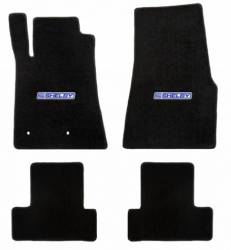 Carpet & Related - Floor Mat Sets - Lloyd Mats - 65 - 70 Mustang Coupe BLACK Mats, Blue/White Shelby Word