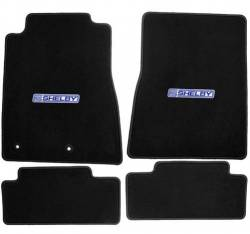 Carpet & Related - Floor Mat Sets - Lloyd Mats - 15 Mustang  Black Set of 4 Floor Mats: Shelby Word Blue/White Emblem