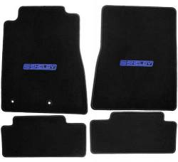 Carpet & Related - Floor Mat Sets - Lloyd Mats - 15 Mustang  Black Set of 4 Floor Mats:: Shelby Word Blue/Black Emblem