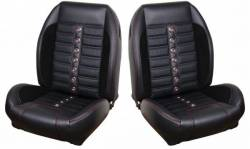 TMI Products - 64 - 67 Mustang TMI Sport XR Full Seat Upholstery- Black/Black/Red/Steel - Image 1