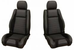 Upholstery - Front & Rear Conv. Seats - TMI Products - 05 - 07 Mustang  Sport R Seat Upholstery, Full Set, Black Stitching