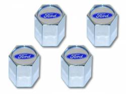 Wheels - Wheel Accessories - Scott Drake - Mustang Blue Oval Logo Valve Stem Caps