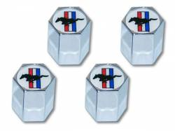 Wheels - Wheel Accessories - Scott Drake - Tri Bar Mustang Logo Valve Stem Caps