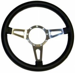 Scott Drake - 65 - 73 Mustang Black Leather 9 Hole Steering Wheel, 15 in