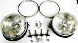 Electrical & Lighting - Headlights - Stang-Aholics - 67 Mustang Headlight Kit w/ Adjusters for One Piece SR-67 Fiberglass Extended Nose Section