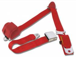 Seats & Components - Seat Belts - Scott Drake - 65 - 73 Mustang 3 Point Seatbelt, Bright Red