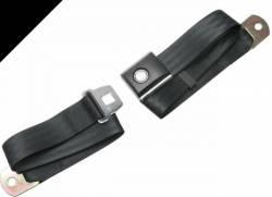 Seats & Components - Seat Belts - Scott Drake - 65 - 73 Mustang Black Push Button Seat Belt