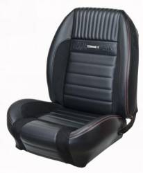Upholstery - Front & Rear Coupe Seats - TMI Products - 64 - 66 Mustang TMI Pony Sport R Seat Upholstery-Black/Black/Red