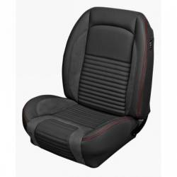 Upholstery - Front & Rear Coupe Seats - TMI Products - 67 Mustang TMI Sport R Series Seat Upholstery-Black/Black/Red