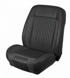 Upholstery - Front & Rear Fastback Seats - TMI Products - 68 - 69 Mustang TMI Sport R Series Seat Upholstery-Black/Black/White