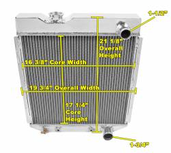 Radiators - 3 - Core - Champion Cooling - 64 - 66 Ford Mustang Champion Radiator 3-Row Core