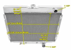 Radiators - 4 - Core - Champion Cooling - 67 - 70 Mustang Radiator Passenger Side Outlet