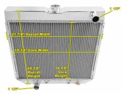 Radiators - 4 - Core - Champion Cooling - 67 - 70 Mustang Radiator Driver Side Outlet
