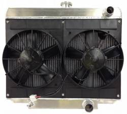 "Radiators - 2 - Core - C & R Racing - 69 - 70 Mustang Radiator and 11"" Dual Spal Fan SBF"