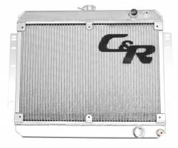 C & R Racing - 69 - 70 Mustang Aluminum Radiator, SBF, accepts Factory fan Shroud