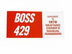 Accessories - Literature - Scott Drake - 1970 Mustang Boss 429 Owners Manual