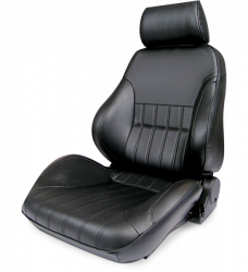 Mustang ProCar Rally Smooth Back Seat, BLACK Vinyl, Left
