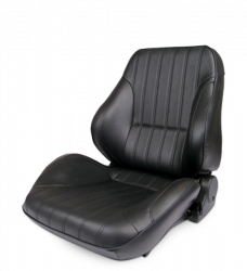 Procar - Mustang ProCar Rally Lowback Seat without Headrest, Black Leather, Left