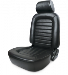 Procar - Mustang ProCar Classic Seat with Headrest, Black Vinyl, Right