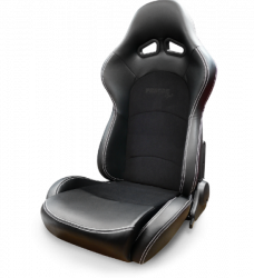 Procar - Mustang ProCar Evolution Sport Recliner, Black Vinyl with Black Velour, Right