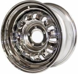 Wheels - 15 Inch - Scott Drake - 68 - 69 Mustang 15 X7 Chrome Styled Steel Wheels