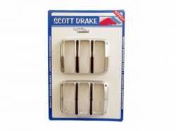 Electrical & Lighting - Tail Lights - Scott Drake - 64-66 Mustang Tail Light Bezels (Satin, Pair)