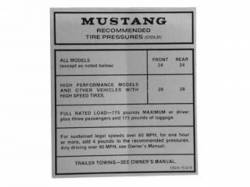 1967 - 1968 Mustang  Glove Box Tire Pressure Decal