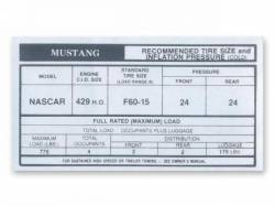 Stripes & Decals - Interior Decals - Scott Drake - 1969 - 1970 Mustang Boss 429 Glove Box Tire Pressure Decal