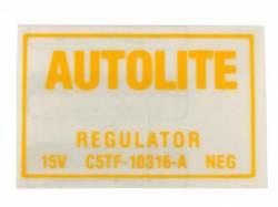 Stripes & Decals - Engine Compartment Decals - Scott Drake - 1967 Mustang  Voltage Regulator Decal