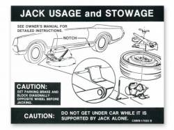 1968 - 1970 Mustang  Jack Instructions (Space Saver Wheel)