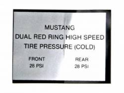 Stripes & Decals - Interior Decals - Scott Drake - 1965 - 1966 Mustang  Red Ring Tire Pressure Decal