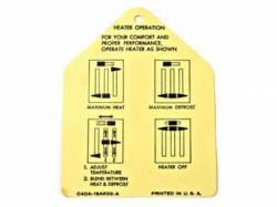 Stripes & Decals - Misc Decals & Tags - Scott Drake - 1964 Mustang  Heater Instruction Tag