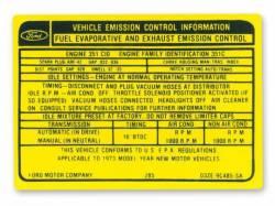 Stripes & Decals - Engine Compartment Decals - Scott Drake - 351-4V Manual Transmission Emission Decal