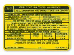 Stripes & Decals - Engine Compartment Decals - Scott Drake - 351C-2V Auto Transmission Emission Decal