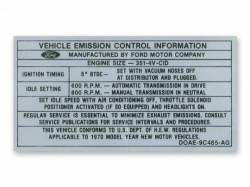 Stripes & Decals - Engine Compartment Decals - Scott Drake - 351-4V Auto/Manual Transmission Emission Decal