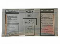 1968 Mustang  Space Saver Inflator Bottle Decal