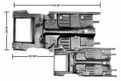 Floor Pan - Complete - Dynacorn - 65 - 68 Mustang Convertible Complete Floor & Trunk Pan with Frame Rails